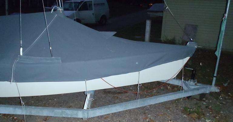 Bow view - full skirt drysail cover